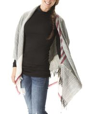 Oversized Knitted Scarf with Fringes for Women