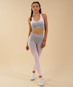 ce89246840d4bb High Waisted Gym Leggings, Seamless Leggings, Gradient Color, Gym Wear,  Pink Grey