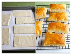 Puff Pastry Rectangles _ The baked rectangles are cut in half crosswise, and ingredients are placed over the bottom half of the rectangle, while the other half serves as a lid. You can make puff pastry rectangles any size you like. They're especially good with asparagus.