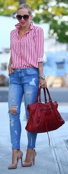 Red and white striped shirt, Torn Jean's, Red Bag, Neutral Heels Red Sunnies!