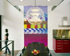 Charming Modern Interior in Colorful Design: Cozy Dining Room Round Chandelier Boerum Hill House