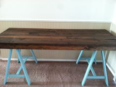 Astonishing DIY Dark Wooden Office Desk with Turquoise Iron Frame Table Tennis Inspired