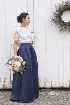 Pretty two piece lace + navy blue gown: http://www.stylemepretty.com/massachusetts-weddings/boxford-massachusetts/2016/03/04/pantone-2016-rose-quartz-serenity-inspiration-winter-shoot/ | Photography: Caroline Win Photography - http://www.carolinewinnphotography.com/