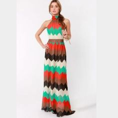Chevron Print Maxi Cute and out of stock on Lulus. Price is firm. Lulu's Dresses Maxi