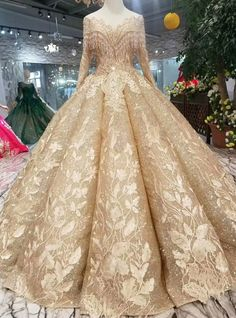 46c3ca1937 Gold Ball Gown Sequins Bateau Long Sleeve Appliques Wedding Dress