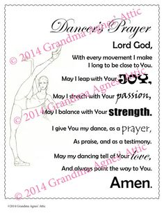 Dancer's Prayer digital download. 100% of the profits of this sale go to support a local youth to attend World Youth Day in Krakow, Poland - July 2016.