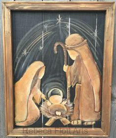 On Window Screen With Recycled Wood Frame Nativity On Window Screen With Recycled Wood Frame At Inches This Beautiful Art On Screen With A Recycled Frame Offers You Something Extremely Unique To Decorate Your Home It Goes Great With Rustic Or Country Christmas Canvas, Christmas Nativity, Christmas Paintings, Christmas Signs, Christmas Art, Christmas Holidays, Xmas, Nativity Crafts, Christmas Bells