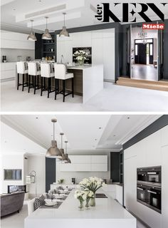 When creating an open plan kitchen, bare in that the colour scheme and style connect to the theme of the entire room scheme so that the kitchen can easily be kept tidy and clean. Open Plan Kitchen Dining Living, Kitchens, Kitchen Appliances, Dream Homes, Living Area, Connect, Color Schemes, Kitchen Design, Barn