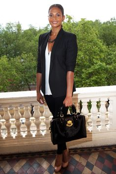 CAbi way....Luxe Tux jacket, Thermal Tunic and Tuxedo Lean Trouser...