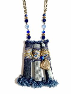 Long Blue Necklace Denim Necklace Upcycled Fabric by BluKatDesign
