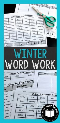 Winter Word Work Resources | Reinforce phonics, decoding, fluency, and vocabulary in the classroom with this fun, Winter-themed collection of literacy activities. | Includes word sorts, sentence building, word puzzles, making words, and roll & read tasks.