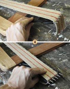 How To Upholster a Slip Seat....from scratch, actually shows how to stretch straps across bottom!