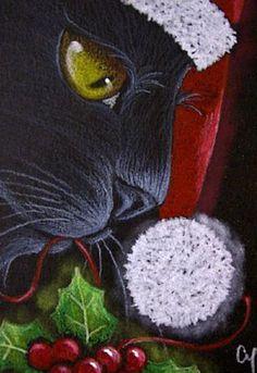 """Black Cat"" par Cyra R. Illustration Noel, Illustrations, Christmas Animals, Christmas Cats, Christmas Rock, Black Christmas, Black Cat Art, Black Cats, Diy Ugly Christmas Sweater"