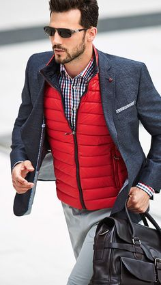 Plaid Shirt, Red Vest, Blue Sport Jacket | Men's Fashion | Menswear | Men's Casual Outfit for Fall/Winter | Smart Casual | Layers | Weekender | Moda Masculina | Shop at designerclothingfans.com