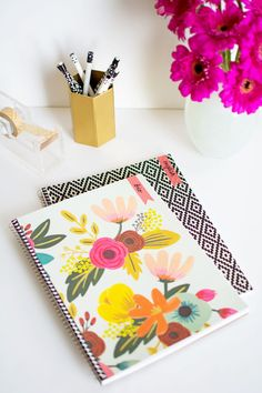Back-to-School DIY decorated notebooks with washi tape labels. SO cute for fun & Games with Creativity, Writing, and Drawing with Self Expression! Via Pottery Barn Diy Decorate Notebook, Notebook Diy, Notebook Labels, Crafts For Teens, Fun Crafts, Diy And Crafts, Paper Crafts, Diy Craft Projects, Diy Cahier