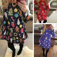 855a22c4185 S-5XL Large Size Casual Women Dresses Cute Printed Christmas Dress Winter  2018 Black Red