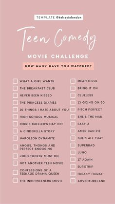 Challenge With Friends - All . -Film Challenge With Friends - All . - Story Templates – FILM/TV – Kelsey Heinrichs Story Templates – FILM/TV – Kelsey Heinrichs Romance Movie Challenge checklist by Kelseyinlondon How many have you watched? Netflix Movie List, Netflix Movies To Watch, Movie To Watch List, Good Movies To Watch, Shows On Netflix, Movies To Watch Teenagers, Comedy Movies List, Netflix Netflix, Teenage Movies List