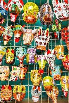 Traditional handmade Masks at Nicaragua's Masaya Market