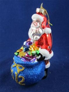 2012 Radko Sparkle Bright Christmas Santa W/ Bag of Toys Glass Ornament NWT