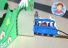 Tunnels maken van karton met kleuters, kleuteridee.nl, thema de trein , kindergarten railroad craft, free printable 2