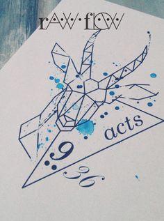 Geometric gazelle tattoo watercolor
