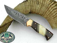 Damascus Hunting Knife – KBS Knives Store Hunting Knives, Damascus Steel, Blade, Bones, Store, Leather, Knives, Larger, Llamas