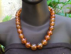 Natural Indonesian Amber Round Beads Matinee Necklace w/ Silver Lock (BDB-MNARY002) by Balidoit on Etsy