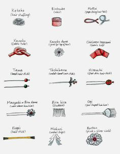 Drawing of different types of kanzashi (Japanese hair ornaments)