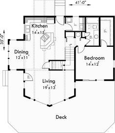 Main Floor Plan for 9932 A-Frame House Plan, Master on the Main, Loft, 2 Bedroom