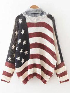 Bandera Patrón cuello de la camisa de la rebeca - Colormix Única Talla