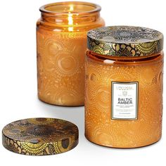 Voluspa Japonica Limited Edition Candle - Baltic Amber - 453g (€42) ❤ liked on Polyvore featuring home, home decor, candles & candleholders, candles, fillers, accessories, decor, furniture, orange and amber scented candles