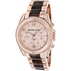 Distinctly feminine, this Michael Kors watch features a beautiful rose goldtone dial that is surrounded by a sparkling crystal-adorned bezel. A two-tone rose goldtone and tortoise stainless steel brac