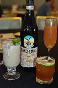 Charlotte's Web at Tales of the Cocktail (left): Fernet Branca milkshake with Angostura Bitters.