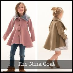 The Nina Coat Pattern has a hi low flared skirt that adds style and a girly flare, front button and oversized collar top this off to be a stylish and adorable coat. Make it from heavy outerwear fab. Source by sharoncostello Coat Coat Pattern Sewing, Sewing Coat, Sewing Patterns Girls, Coat Patterns, Jacket Pattern, Clothing Patterns, Pattern Skirt, Skirt Patterns, Pattern Drafting
