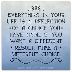 Its Your Life, Only you can choose what kind of life you want to live and are going to live!