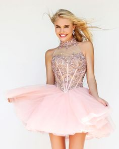 A-line Crystal Detailing Tulle Halter Short Cocktail Party Dresses