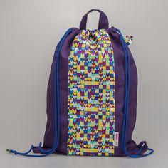 Worek NOŚ MNIE XL (fioletowy w kolorowe serca) - nosmnie - Worki szkolne i przedszkolne