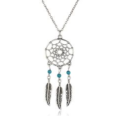 Ancient Silver Color Alloy Girl Chian necklaces For Women Vintage Korea Dream Catcher Leaves Pendant Necklace Jewelry collares Price: USD 1.23 | UnitedStates