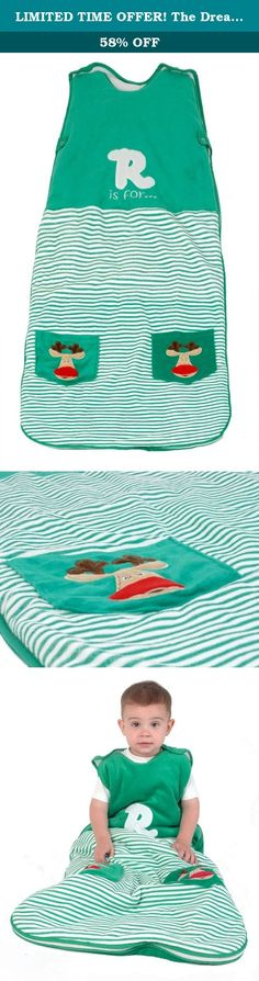 LIMITED TIME OFFER! The Dream Bag Baby Sleeping Bag Velour Reindeer 6-18 Months 2.5 TOG - Green. Green Reindeer is a green and white stripe soft velour baby sleeping bag, with a white R and the words 'is for' on the chest area. Two pockets featuring a reindeer on each are situated on the lower part of the sleeping bag. PLEASE NOTE THE LINING OF THIS PRODUCT IS WHITE. IF YOU WASH THE BAG WITH LIKE COLOURS YOU MAY FIND THAT THE LINING WILL DISCOLOUR. WE RECOMMEND HAND WASHING IN COLD WATER…
