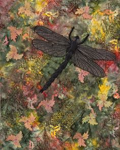 'Dragonfly in Autumn' by Lyn O'Donnell. Auckland Quilt Guild Inc. 2014 Festival of Quilts.