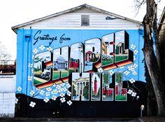 """Greetings from Chapel Hill"" created by Scott Nurkin. Franklin Street, Chapel Hill, NC."