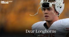 Colt McCoy is a CLASS act \m/  Read his letter to the Horns at: http://www.theplayerstribune.com/colt-mccoy-dear-longhorns/