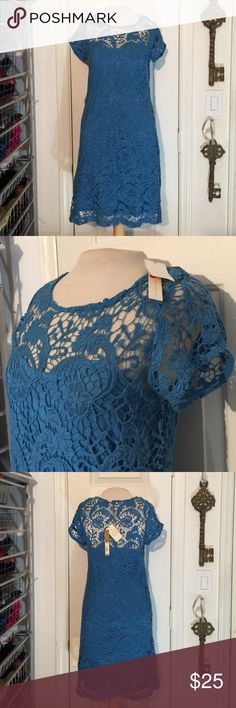 "NWT Lauren Conrad blue floral lace Coachella dress NWT Lauren Conrad blue floral lace ""Coachella Sunrise"" dress. Strapless underdress attached to lace with beautiful boho lace. LC Lauren Conrad Dresses"
