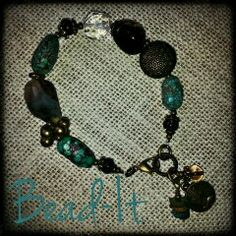 Turquoise and agate on antique brass!