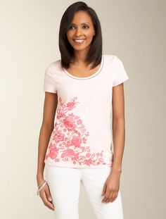 Talbots - Floral Accent Slub-Knit Tee | Tees and Knits | Misses