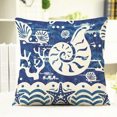 6.92$  Buy here - http://diapv.justgood.pw/go.php?t=179146801 - Chic Ocean Conch Shell Starfish Pattern Square Shape Flax Pillowcase (Without Pillow Inner) 6.92$