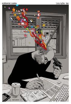 """Tenho """"diabetes"""" mental  Não consigo lidar com excesso de doçura  Sou viciado no fel criativo das desilusões    Texto: Dark Blood   Imagem: Asaf Hanuka  Edição de imagem: Libertária"""