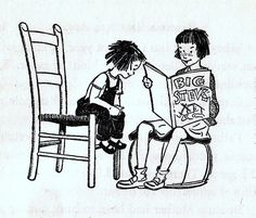 Illustrations of Beverly Cleary's books featuring sisters Ramona and Beezus by Louis Darling. Beezus reading to Ramona Ramona Quimby, Ramona And Beezus, Teenage Movie, Funny Toons, Beverly Cleary, Library Inspiration, Children's Book Illustration, Book Illustrations, Little Sisters