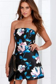 Beneath the Blossoms Black Floral Print Strapless Dress
