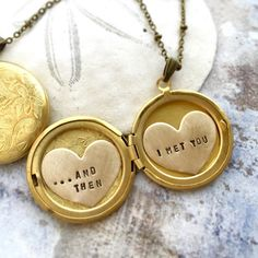 Personalized locket necklace Valentine's gift Valentine's by Sora Designs #SCOUTMOB #makermade #valentine2016 And then I met you  Custom heart locket necklace
